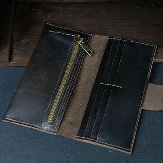 Кожаный кошелек, Berty 20см, кожа итальянский краст, цвет Кофе