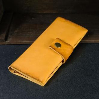 Кожаный кошелек Berty 20см, кожа итальянский краст, цвет Янтарь