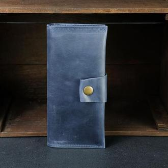Кожаный кошелек Berty 20см, кожа Crazy Horse, цвет Синий