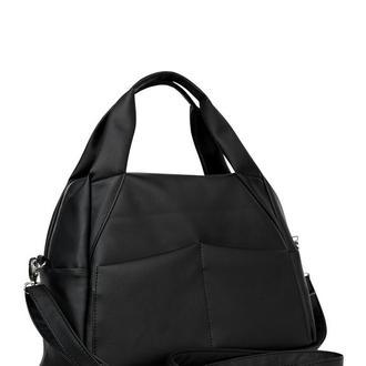 Женская черная спортивная сумка с плечевым ременем
