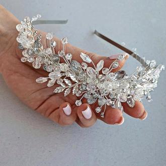 свадебный ободок, ободок для невесты, обруч свадебный, веночек в прическу, обруч на голову