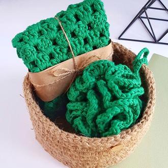 Подарочный набор. Эко набор. Мочалка,полотенце,корзина.