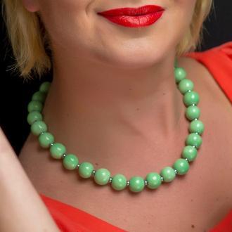 """Мятно-зеленые бусы из керамики """"Menthol Kiss"""""""