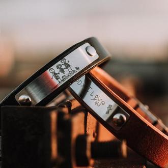 Браслет з Вашою гравіровкою іменний подарунок | Кожаный браслет с Вашей гравировкой именной подарок