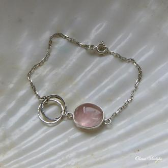 Серебряный браслет с розовым кварцем, браслет с камнями, браслет цепочка