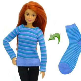 Выкройка свитера для куклы Барби + видео DIY