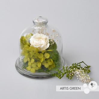 Мини-колба со стабилизированными растениями и розой «White flower»