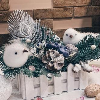 Новогодняя композиция с птичками