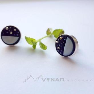Срібні сережки Перламутровий місяць