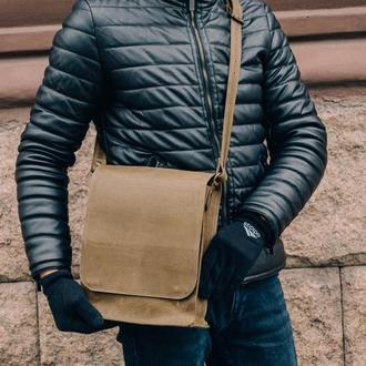 Зеленая мужская сумка почтальонка, Кожая сумка через плечо