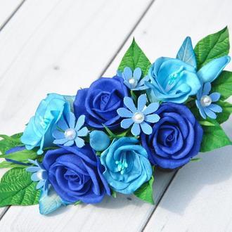 Заколка для волос с синими розами Гребень цветочный в прическу невесты Заколка для девочки