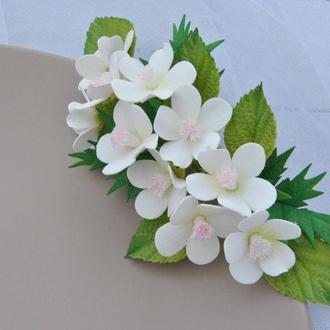 Заколка для волос с цветами яблони Гребень для волос с весенними цветами Заколка для девочки
