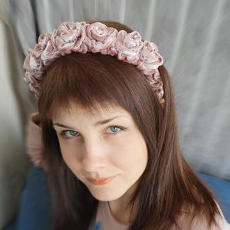 Обруч ободок для волос с бархатными розами