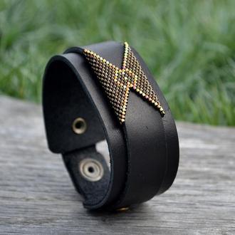 Кожаный браслет Black and Bronze