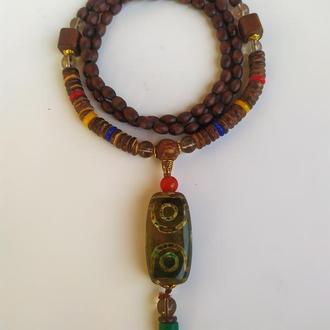 """Тибетское ожерелье - амулет с бусиной Дзи """" 6 глаз"""""""