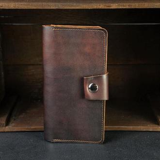 Кожаный кошелек Нова, кожа итальянский краст, цвет Вишня