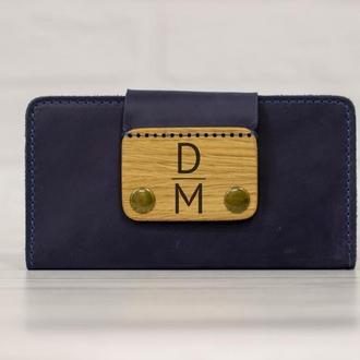 Синий кожаный кошелек с монограммой и инициалами, вместительное портмоне с именной гравировкой
