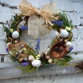 """Декоративные венки, венки на дверь, пасхальный венок """"Весна"""", венок на пасху, венок пасхальный"""