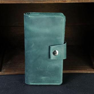 Шкіряний гаманець Нова, шкіра Crazy Horse, колір Зеленый