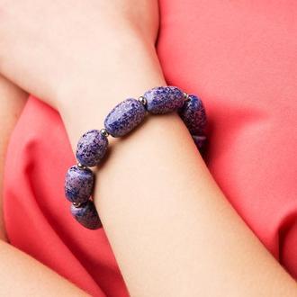 """Сине - фиолетовый браслет из керамики """"Blooming Lilac"""" ручной работы"""