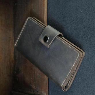 Шкіряний гаманець Нова, шкіра Crazy Horse, колір Шоколад