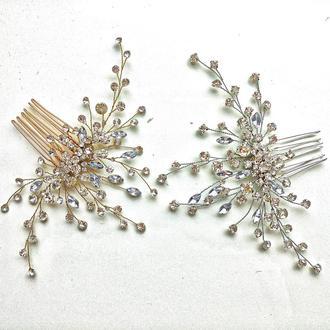 Свадебное украшение для волос, заколка в прическу, гребешок в прическу, веточка для прически
