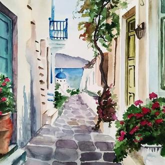 Акварельная иллюстрация Греческая улочка