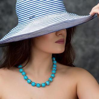 """Голубое ожерелье из керамики """"Blue Eyes"""""""