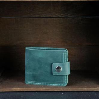 Портмоне на застежке с монетницей, Кожаный кошелек, кожа Crazy Horse, цвет Зеленый