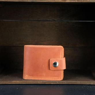 Портмоне на застежке с монетницей, Кожаный кошелек, кожа Crazy Horse, цвет Коньяк