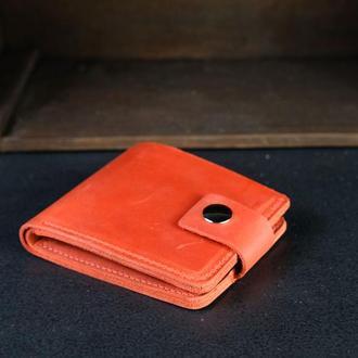 Портмоне на застежке с монетницей, Кожаный кошелек, кожа Crazy Horse, цвет Красный