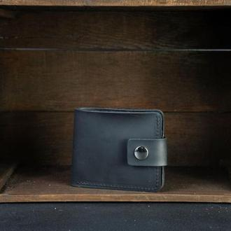 Портмоне классика с монетницей с застежкой Винтажная кожа цвет Черный