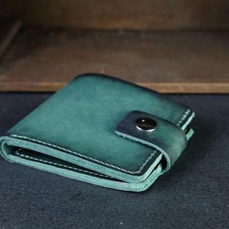 Портмоне на застежке с монетницей, Кожаный кошелек, кожа итальянский краст, цвет Зеленый