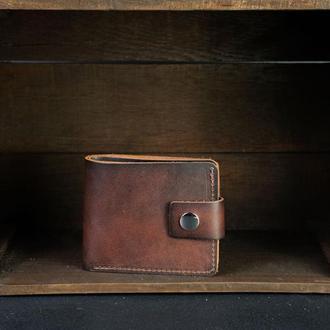 Портмоне на застежке с монетницей, Кожаный кошелек, кожа итальянский краст, цвет Вишня