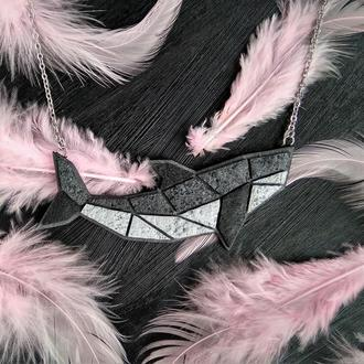 Геометрична підвіска Рибка. Необычный геометрический морской кулон Рыба