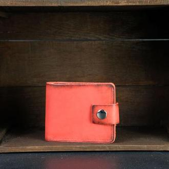 Портмоне на застежке с монетницей, Кожаный кошелек, кожа итальянский краст, цвет Красный