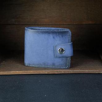 Портмоне на застежке с монетницей, Кожаный кошелек, кожа итальянский краст, цвет Синий