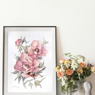 """Картина акварелью, ботаническая иллюстрация """"В саду"""""""