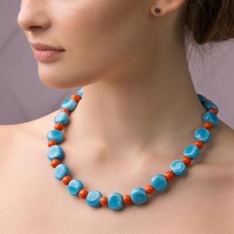 """Голубовато - оранжевое ожерелье из керамики """"The Egyptian Sun"""" ручной работы"""