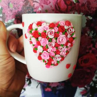 Чашка с декором розы