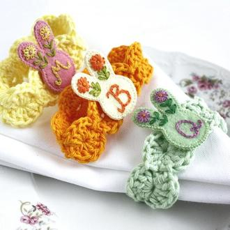 Пасхальные кольца для салфеток Зайчики Столовый декор на Пасху детский Пастельные цвета
