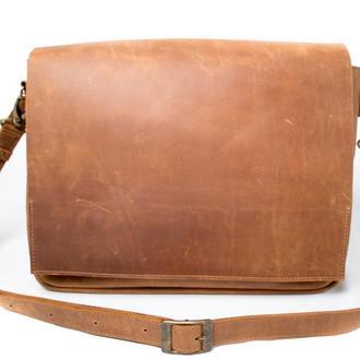 Кожаная сумка на плечевом ремне. 07005/коньяк