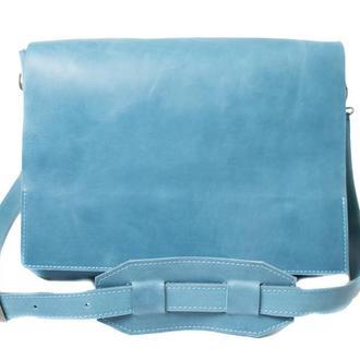 Кожаная сумка на плечевом ремне. 07005/голубой