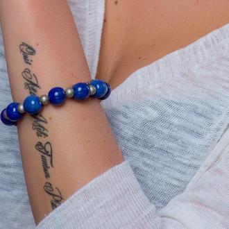 """Синий браслет из керамики """"Heavenly Silence"""" ручной работы"""
