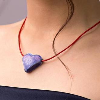 """Ожерелье - подвеска сердце из керамики """"Cold Heart"""" ручной работы"""