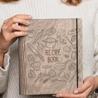 Кулинарная книга / Книга рецептов / Блокнот из дерева