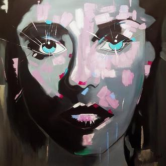 "Интерьерная картина ""Взгляд"" р. 100*100 см холст-масло"