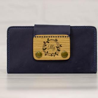 Кожаный мужской кошелек с рисунком на пряжке. Именное портмоне с гравировкой