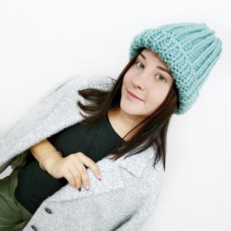 Вязаная женская шапка, цвет мятный