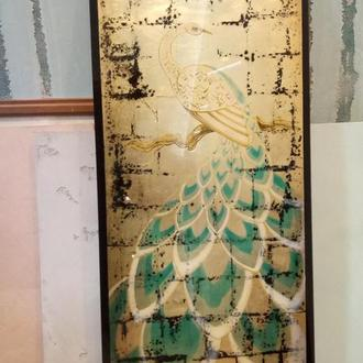 Состаренное панно на стекле, зеркале